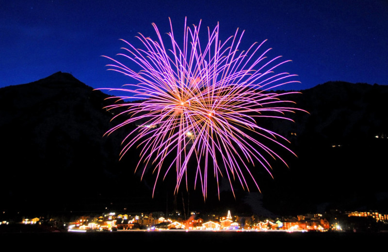 Fireworks in Jackson Wyoming near The Inn at Jackson Hole.
