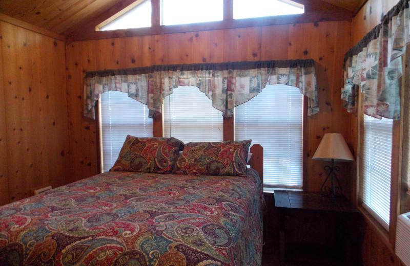 Cabin bedroom at Copper John's Resort.