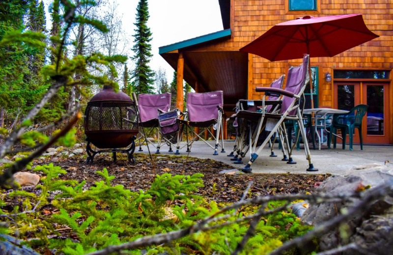 Patio at  Alaska Legends Adventure Resort.