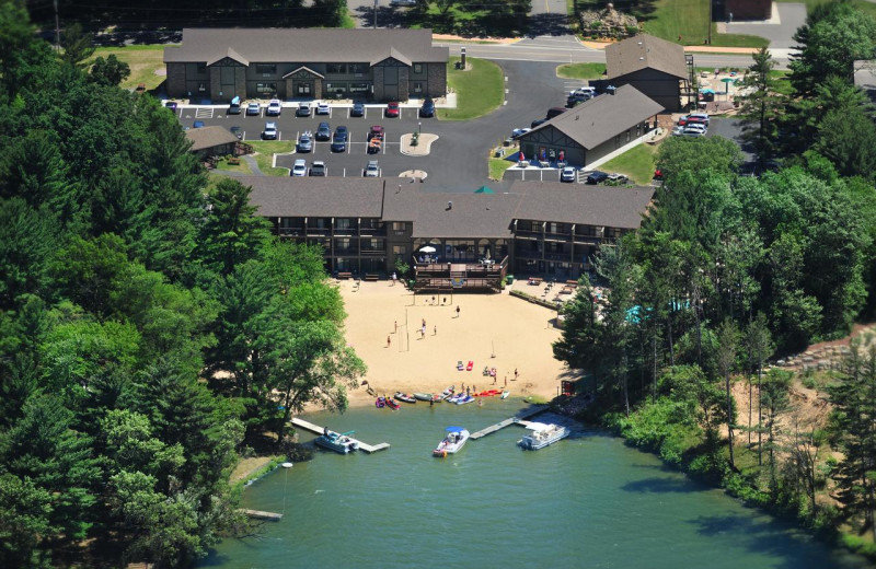 Aerial view of Baker's Sunset Bay Resort.
