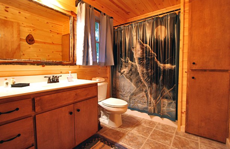 Cabin bathroom at Sautee Resorts.