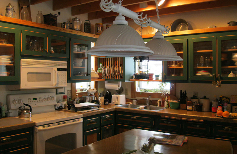 Rental kitchen at Harv's Vacation Rentals.