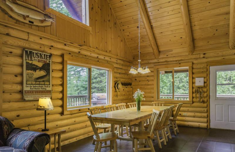 Cabin dining room at White Eagle Resort.