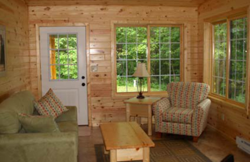 Cottage living room at Bug-Bee Hive Resort.