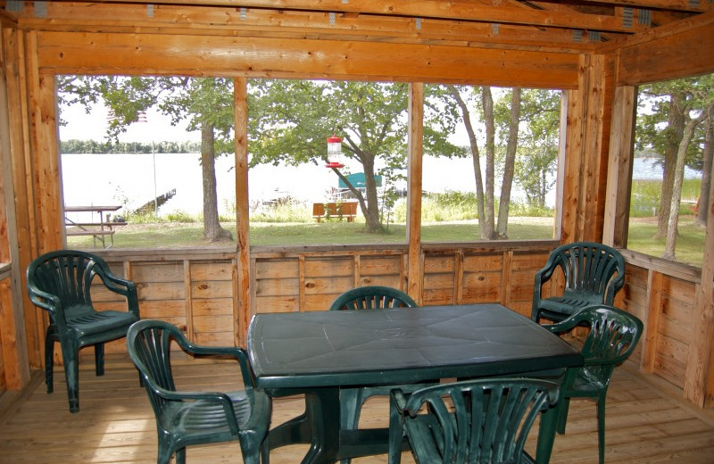 Cabin porch at Bear Paw Resort.