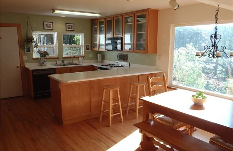 Vacation rental kitchen at Redwood Coast Vacation Rentals.