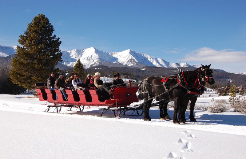 Sleigh rides at Grand Timber Lodge.