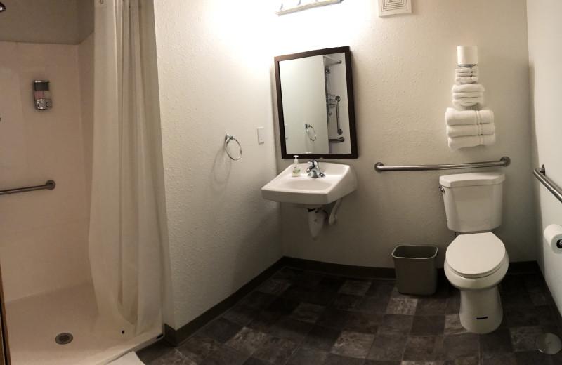 Guest bathroom at Comfort Zone Inn.
