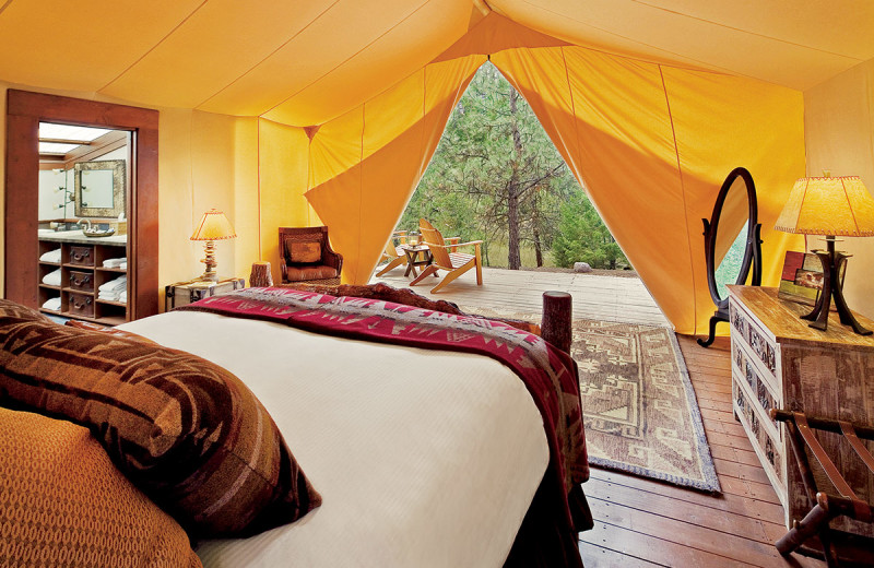 Tent bedroom at The Resort at Paws Up.