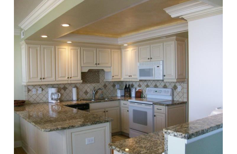 Rental kitchen at Vanderbilt Vacations.