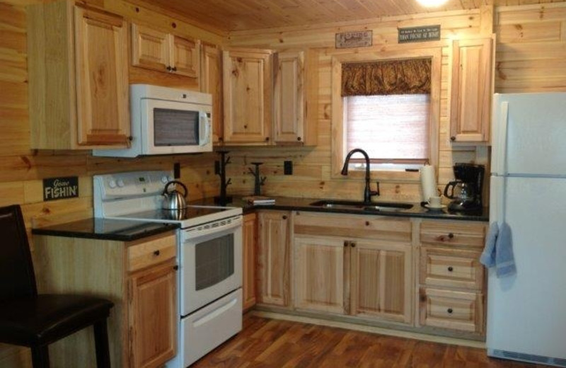 Cabin kitchen at The Pines of Kabetogama Resort.