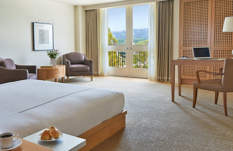 Guest room at Raffles L'Ermitage Beverly Hills.