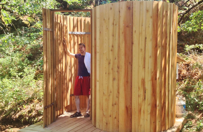 Outdoor shower at Westcliff Lodge.