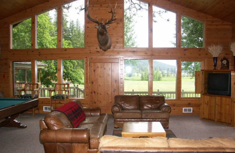 Cabin living room at Mountain Springs Lodge.