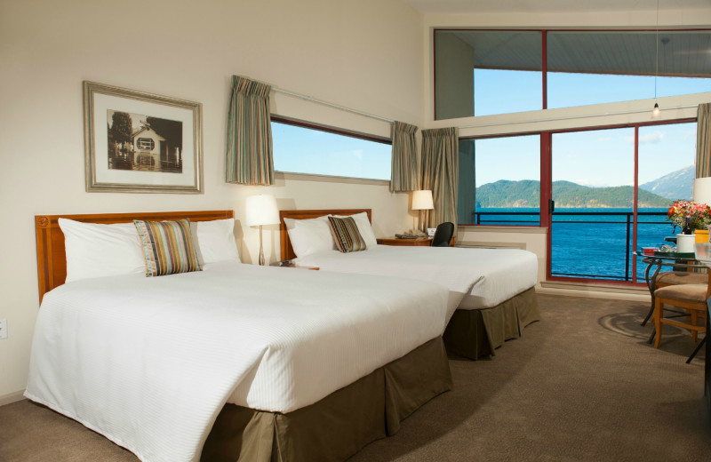 Guest room with view of the lake at Harrison Beach Hotel.