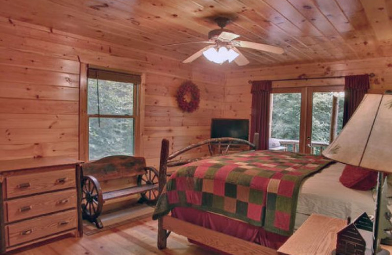 Cabin bedroom at Georgia Mountain Cabin Rentals.