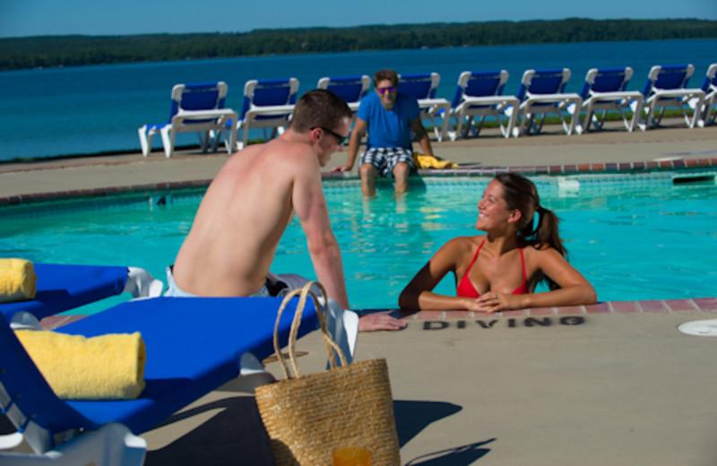 Outdoor pool at Sugar Lake Lodge.