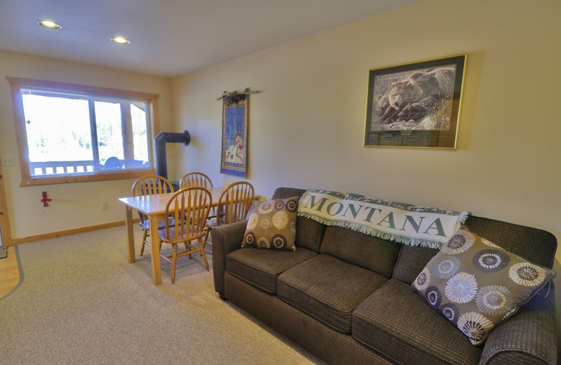This is the cozy living room inside our 1 bedroom cabins located only 1/2 mile from Glacier National Park
