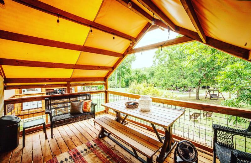 Guest balcony at Geronimo Creek Retreat.