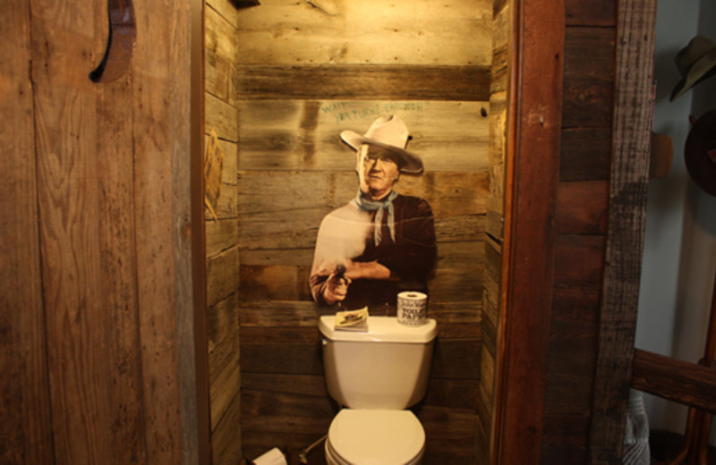 American Cowboy Room bathroom at The 1887 Hansen House Bed & Breakfast.
