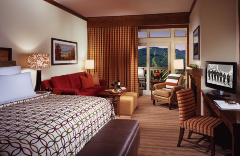 Guest bedroom at Stowe Mountain Lodge.