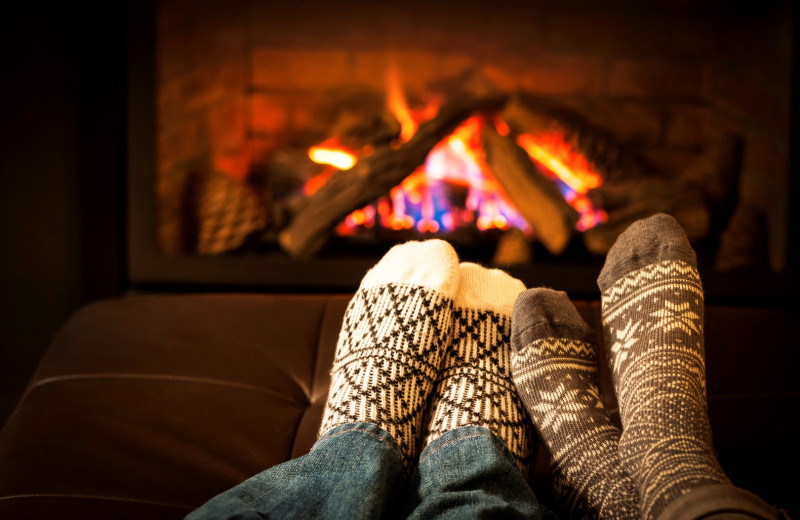 Relaxing by the fire at Big Bear Cool Cabins.