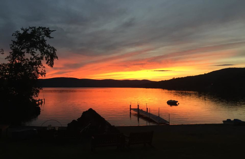 Spectacular sunsets over international Wallace Pond from the sandy beach at Jackson's Lodge, Canaan, Vermont's Northeast Kingdom.