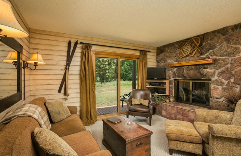 Cabin living room at The Glen Eden Resort.
