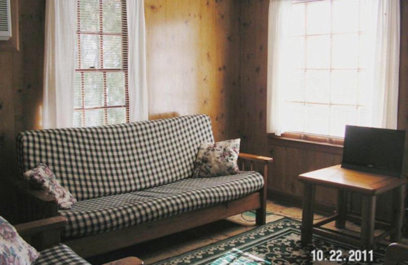 Cabin living room at Kentucky Beach Resort.