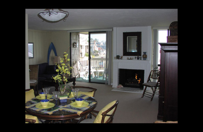 Rental living room at Azure Pacific Vacation Rentals.