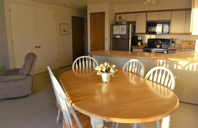Rental kitchen at Beachhouse Vacation Rentals.