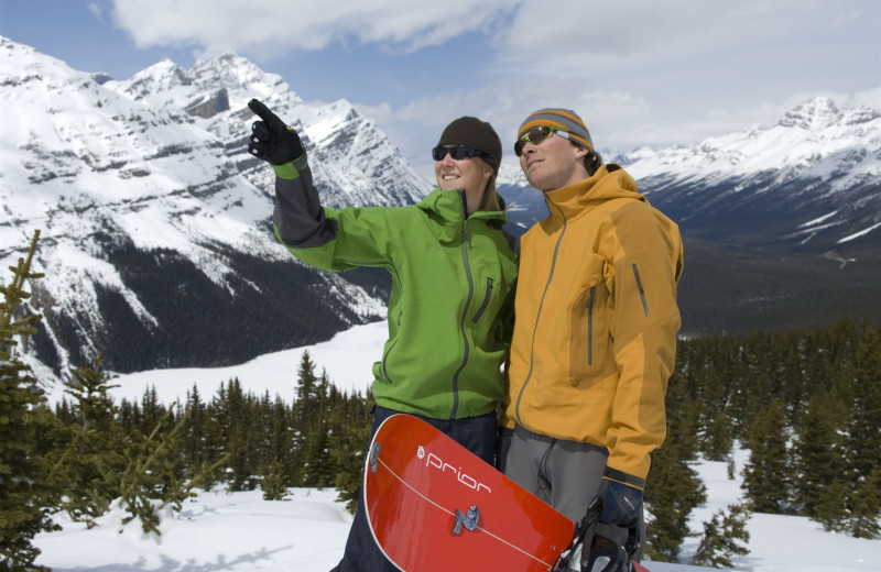Snowboarding at Mountaineer Lodge.