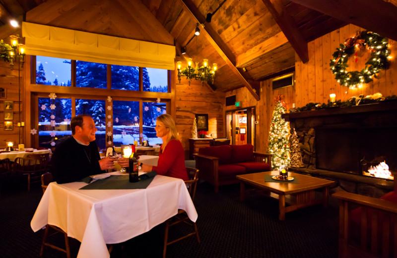 Cozy fire side dining at Granlibakken Resort.