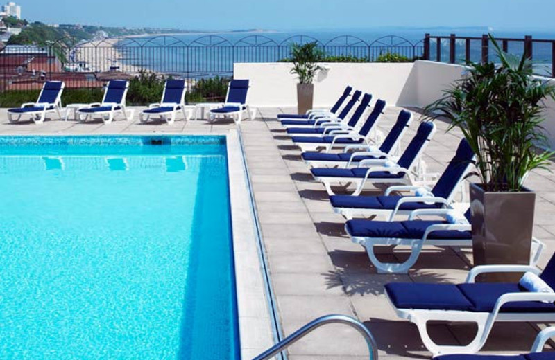Outdoor pool at Bournemouth Highcliff Marriott Hotel.