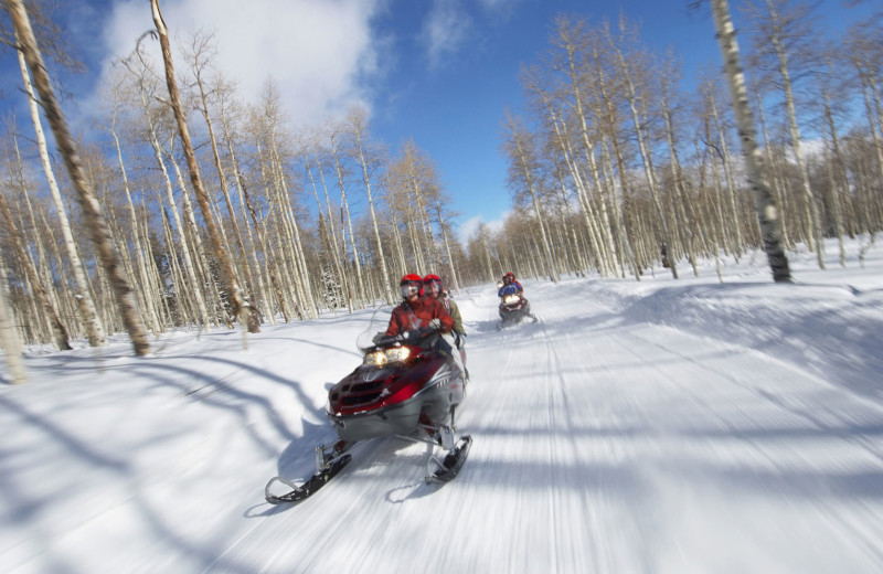 Snowmobiling at Nitschke's Northern Resort.