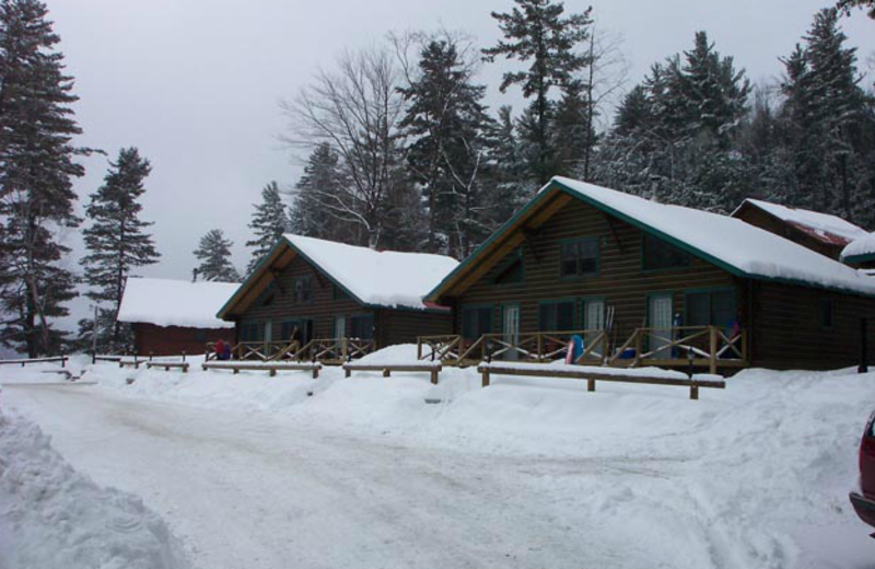 Cabins in the winter at Ridin-Hy Ranch Resort.
