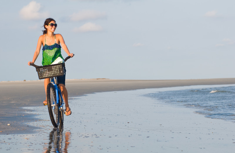 Enjoying a bike ride on the beach at the Lodge on Little St. Simons Island.