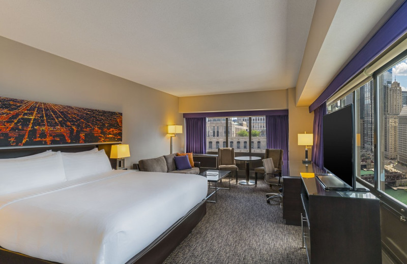 Guest room at Holiday Inn Chicago Mart Plaza River North.