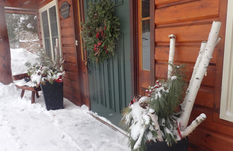 Winter at Heather Lodge exterior front desk entrance.