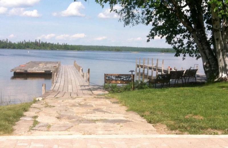 Lake dock at Angle Inn Lodge.
