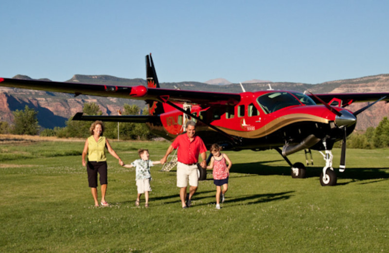 Family By Plane at Gateway Canyons Resort