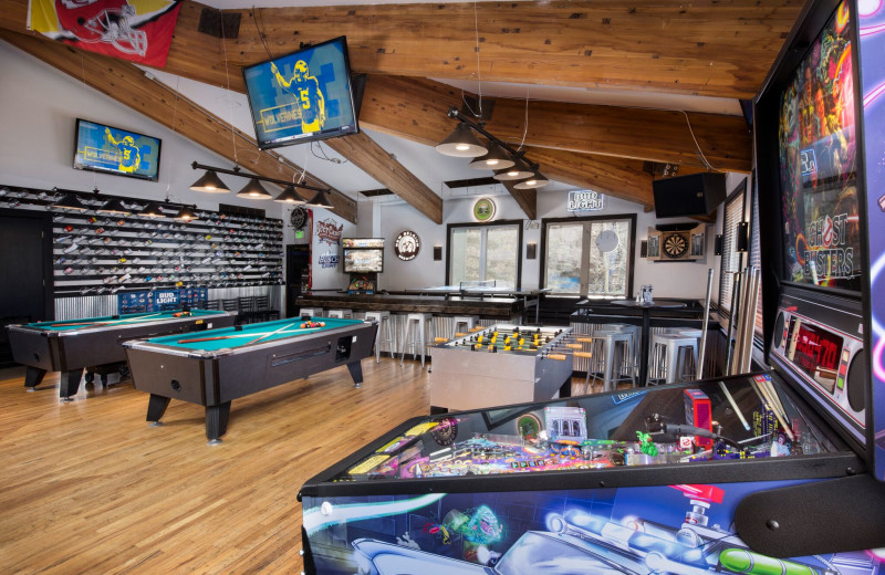 Game room at Evergreen Lodge.