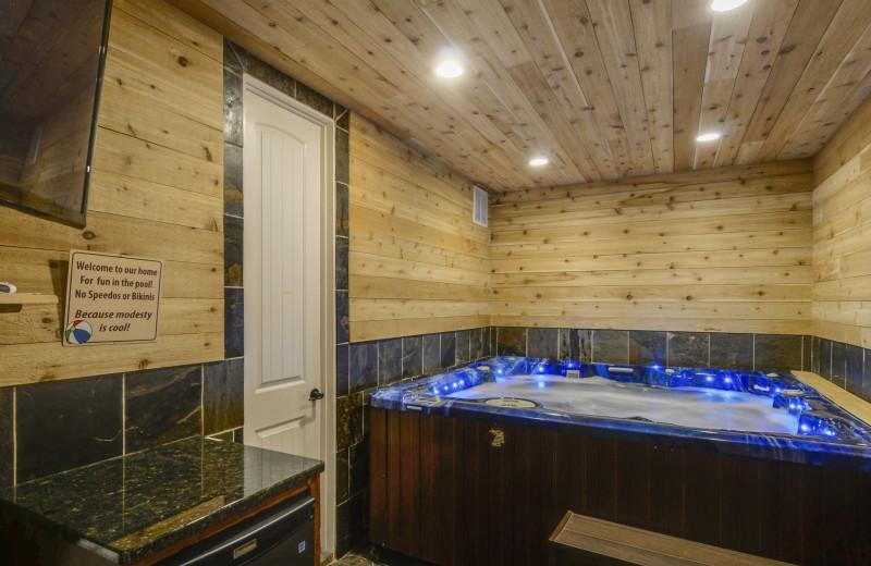 Rental hot tub at Family Time Vacation Rentals.