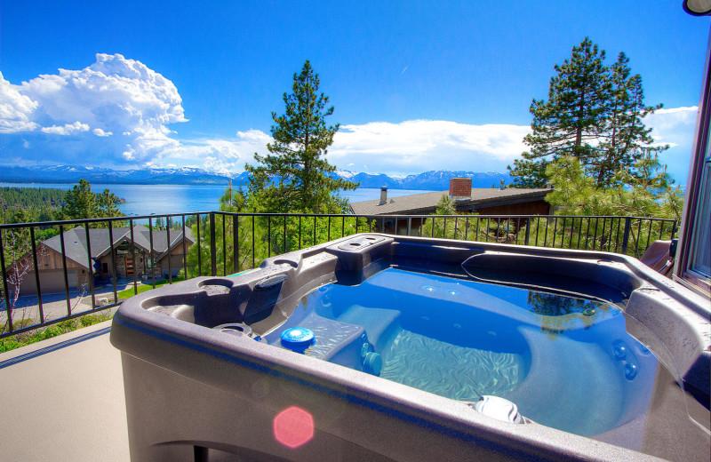 Rental hot tub at Lake Tahoe Accommodations.