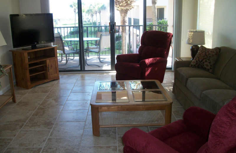 Rental living room at Saint Augustine Beach Vacation Rentals.
