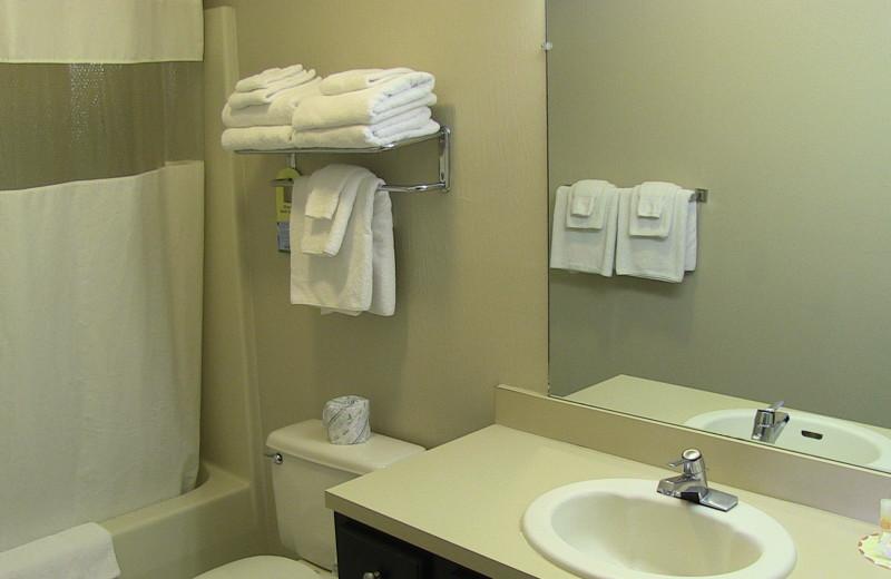 Guest bathroom at @ Michigan Inn and Lodge.