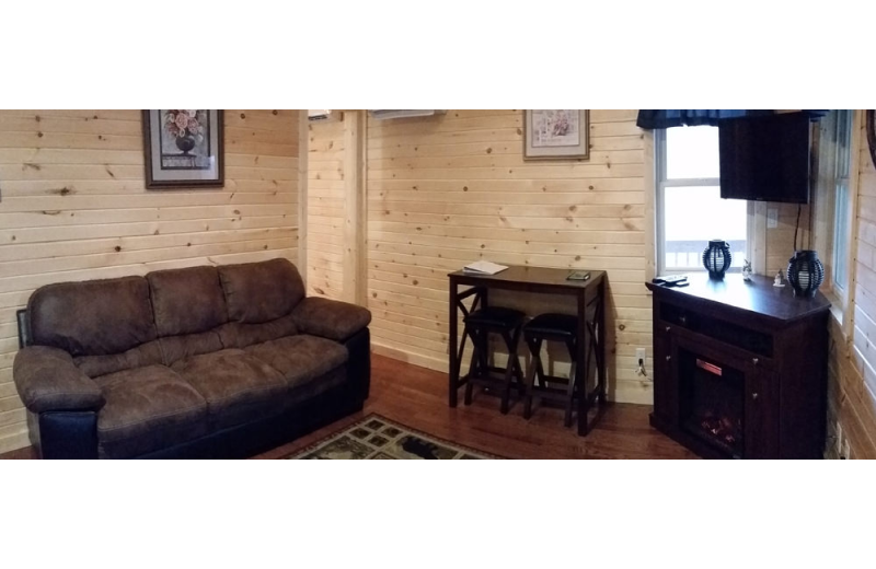 Cabin living room at Hocking Hills Backwoods Retreat.