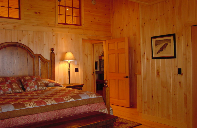 Cottage bedroom at Migis Lodge.