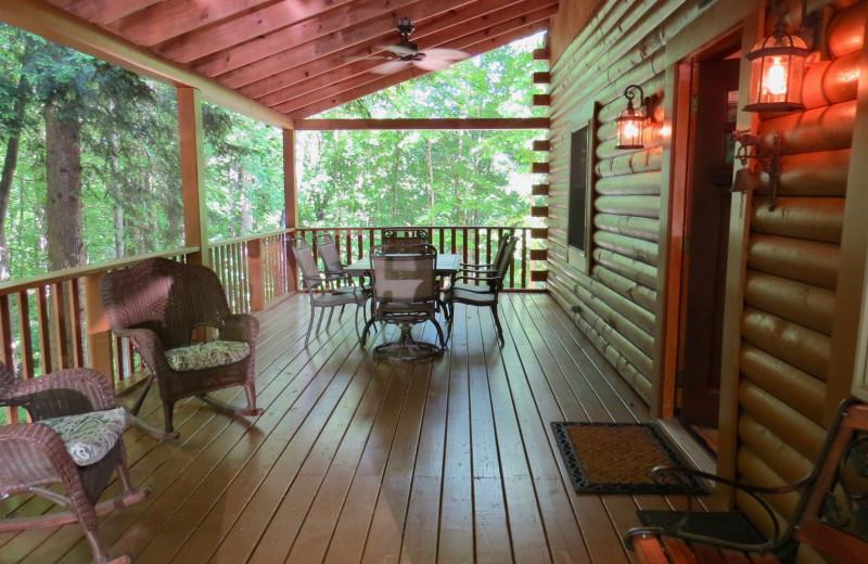 Cabin porch at Creeks Crossing Cabins.