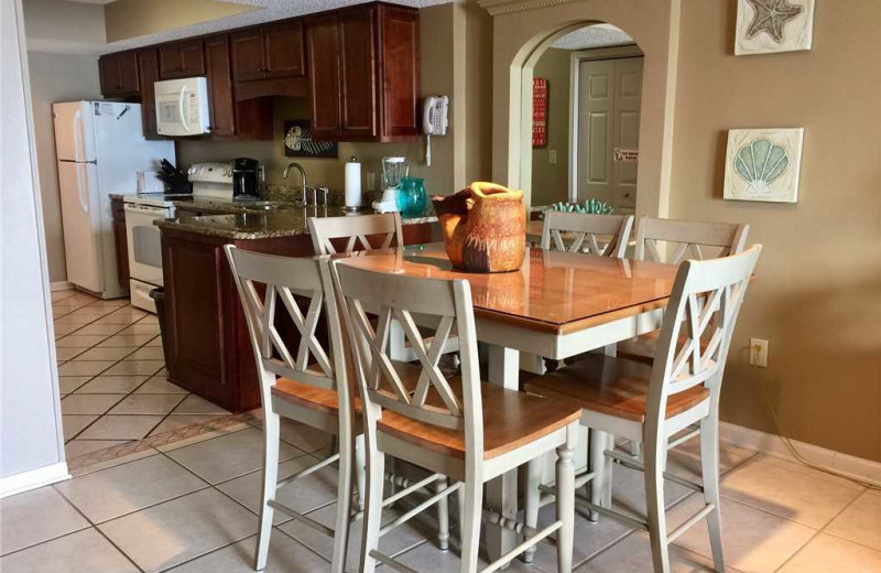 Rental kitchen at Gulf Shores Rentals.